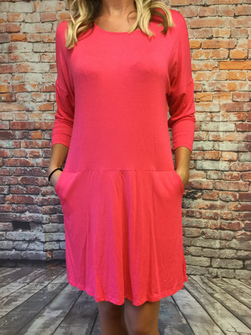 FUSHIA DRESS WITH POCKETS