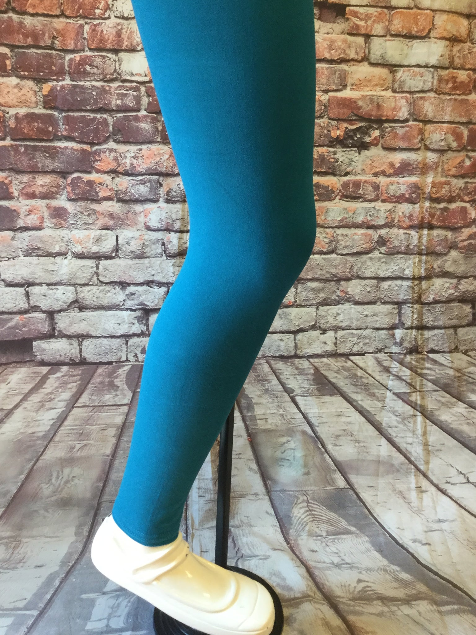 Solid Teal Girls Leggings
