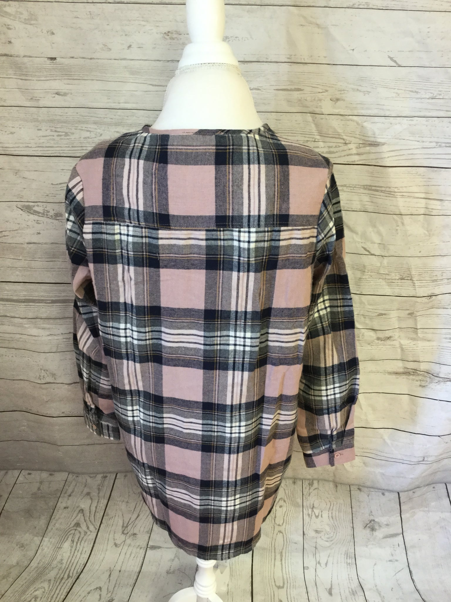 Lace Up Plaid Flannel Mauve and Navy Top