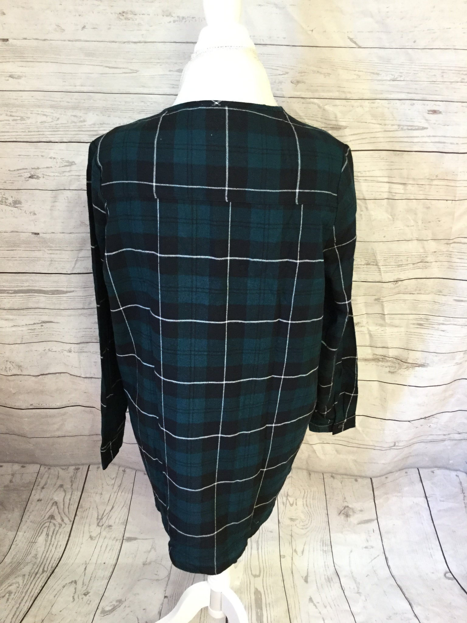 Lace Up Plaid Green and Black Flannel Top