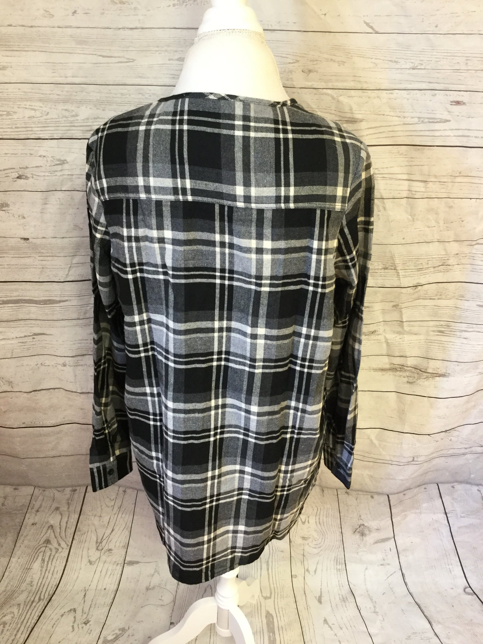 Lace Up Plaid Black and White Flannel To