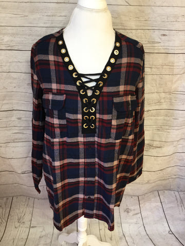 Lace Up Plaid Navy and Burgundy Flannel Top