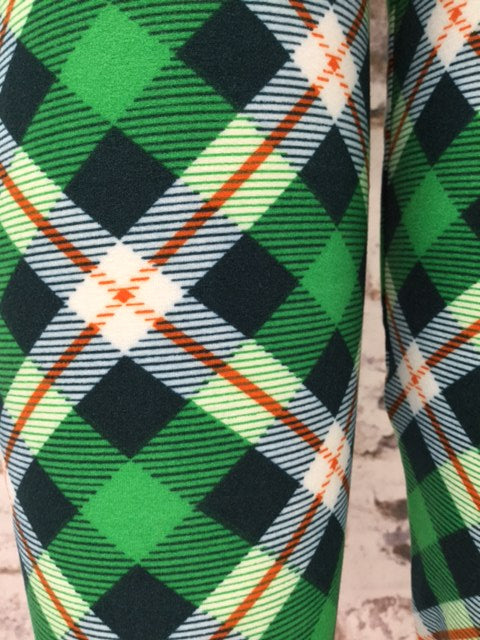 Saint Patrick's Plaid Printed Leggings