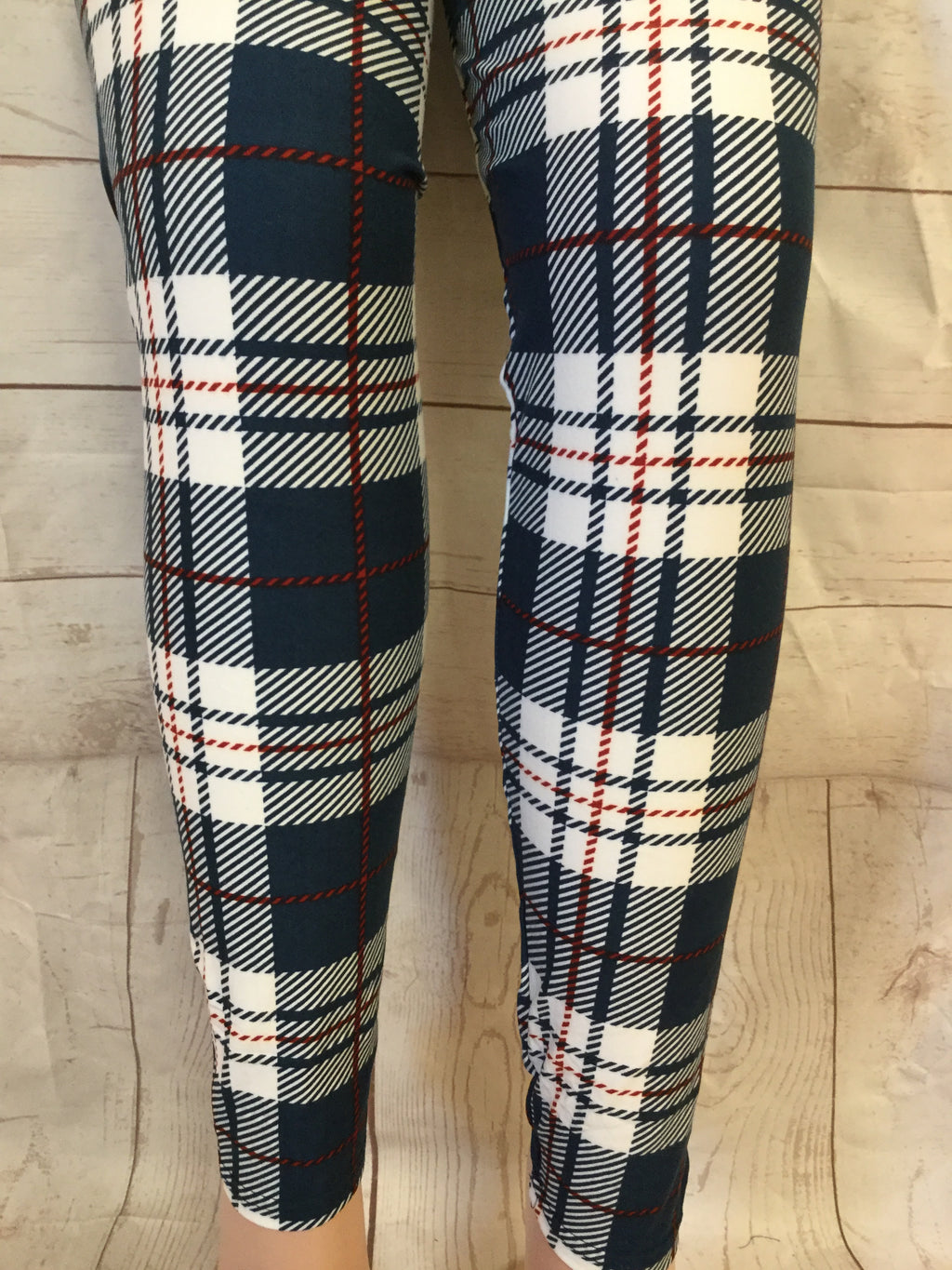 EXTRA PLUS Navy Plaid Printed Leggings