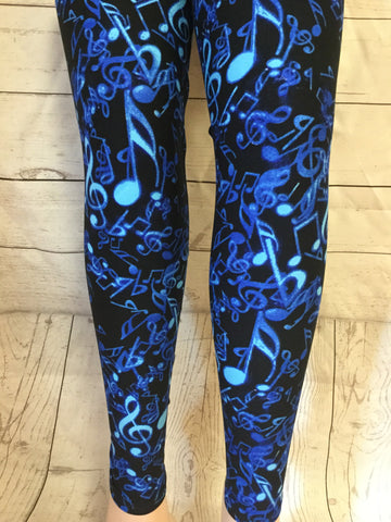 Sound of the Blue's Music Notes Printed Leggings