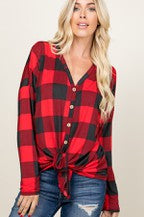 Plus Size Red Plaid Button Up Top