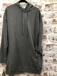 Gray Pullover Over Sized Sweatshirt with Pockets and Hood and Scissor Rhinestones