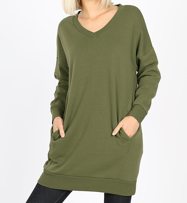 V Neck Over Sized Sweatshirt Pack