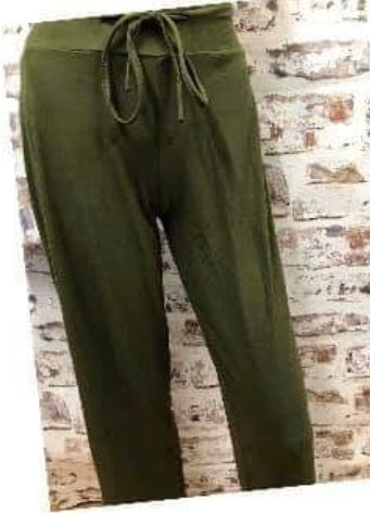 Draw String Solid Olive Pants