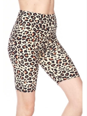 Plus Size Leopard Biker Shorts