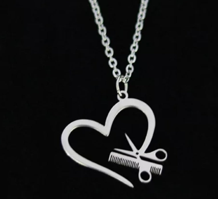 Open Heart Scissor Necklace
