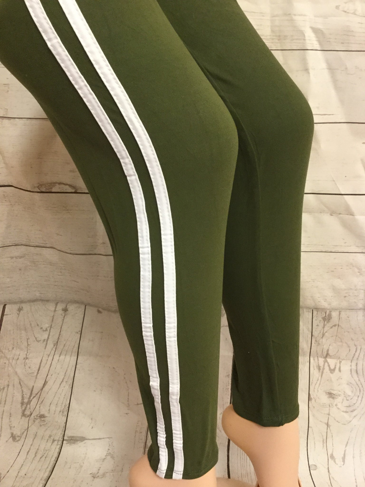 Striped Olive/ White Leggings