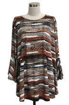 Plus Multi Fall Print Tunic with Ruffled Sleeve