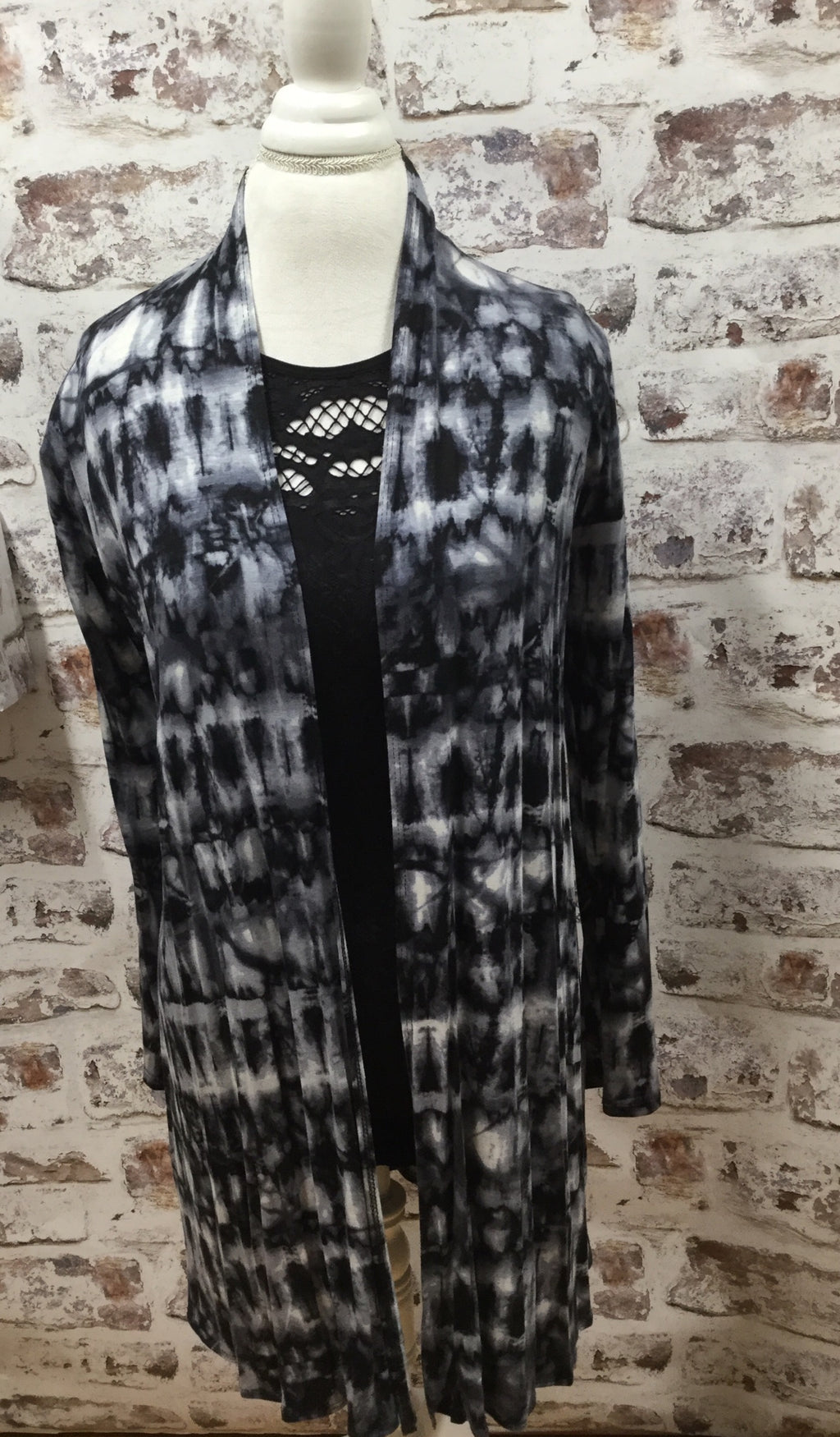 Tye Dye Cardigan in Black