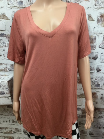 Plus Size Light Paprika V Neck Hi-Low Short Sleeve Tunic