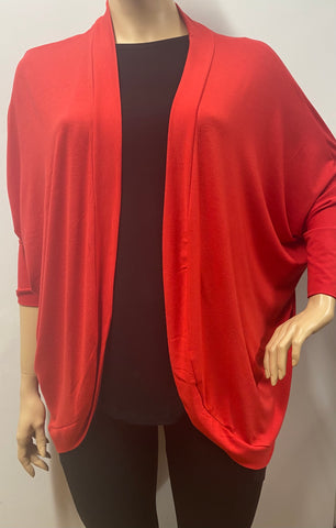 Plus Size Red Wrap Cardigan