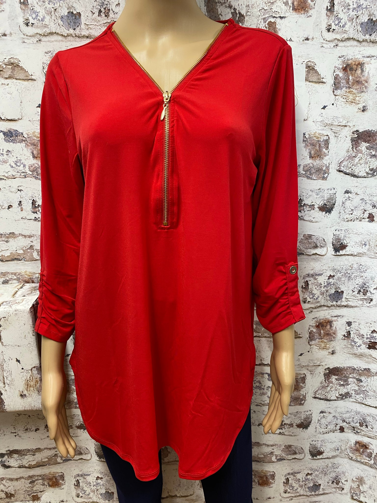Red 3/4 Sleeve Top with Zipper Accent
