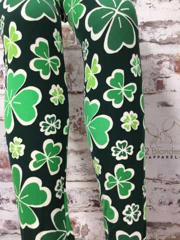 Lucky 4 Leaf Clover Printed Leggings