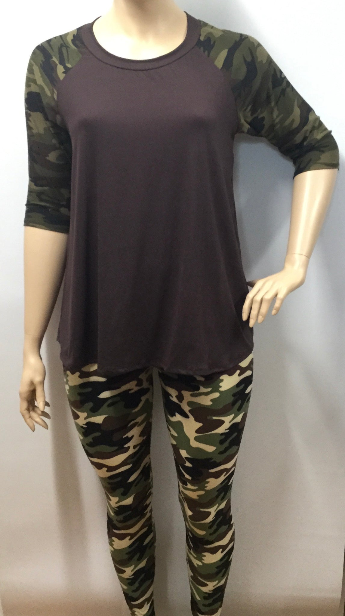 Extra Plus Olive Camo Print Leggings