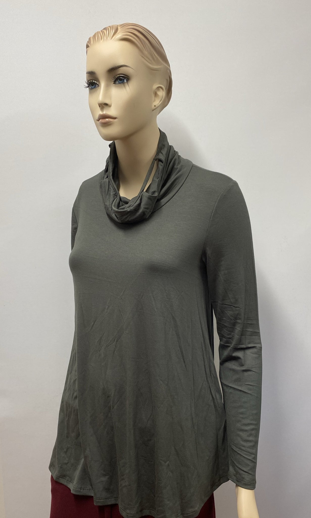 Olive Long Sleeve Cow Neck with Built in Mask