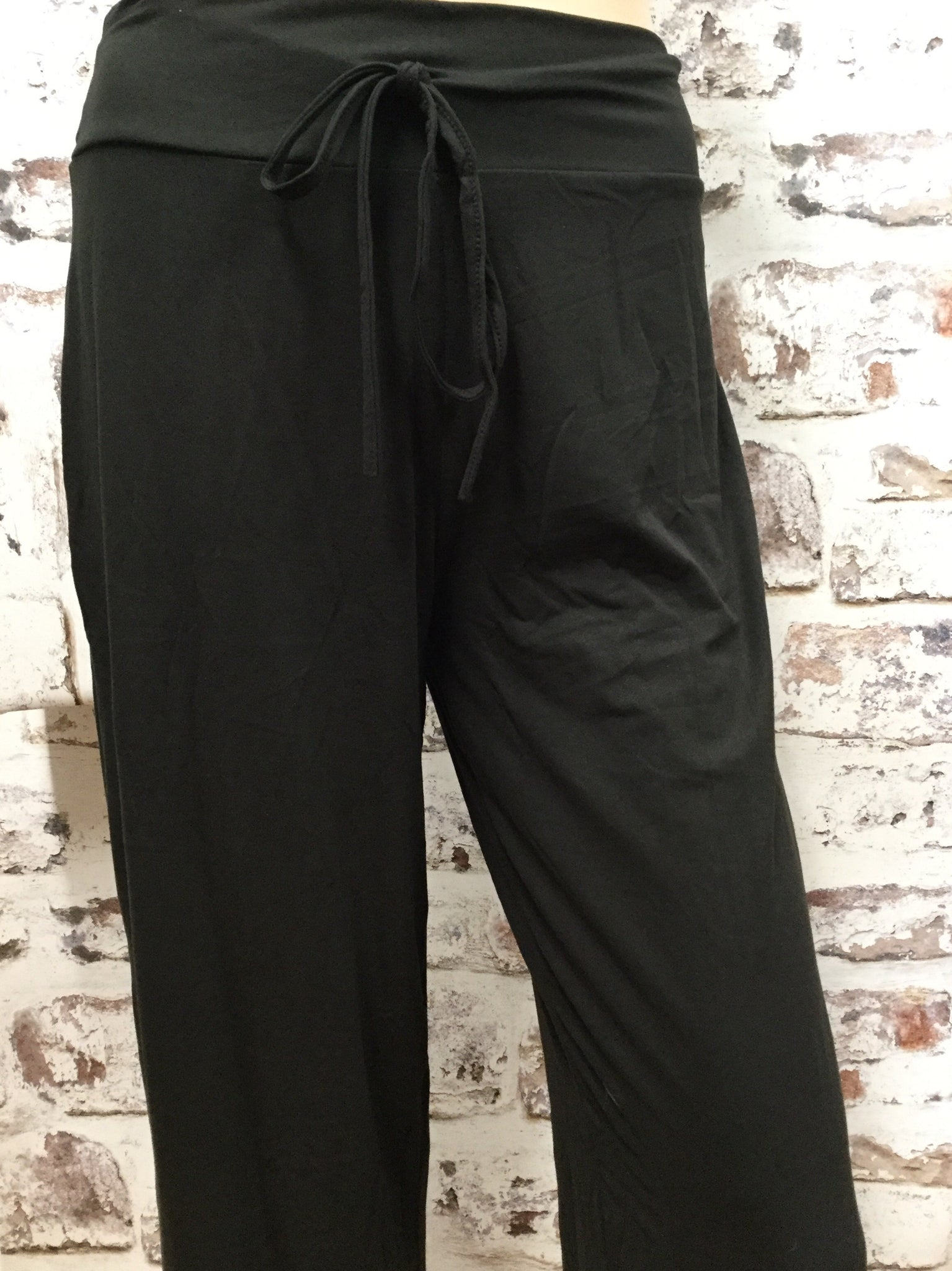 Draw String Solid Black Pants