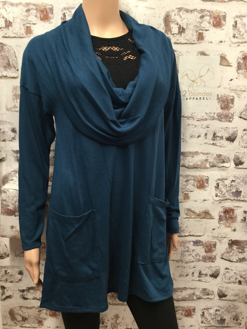 Hacci Teal Long Sleeve Sweater Dress Top