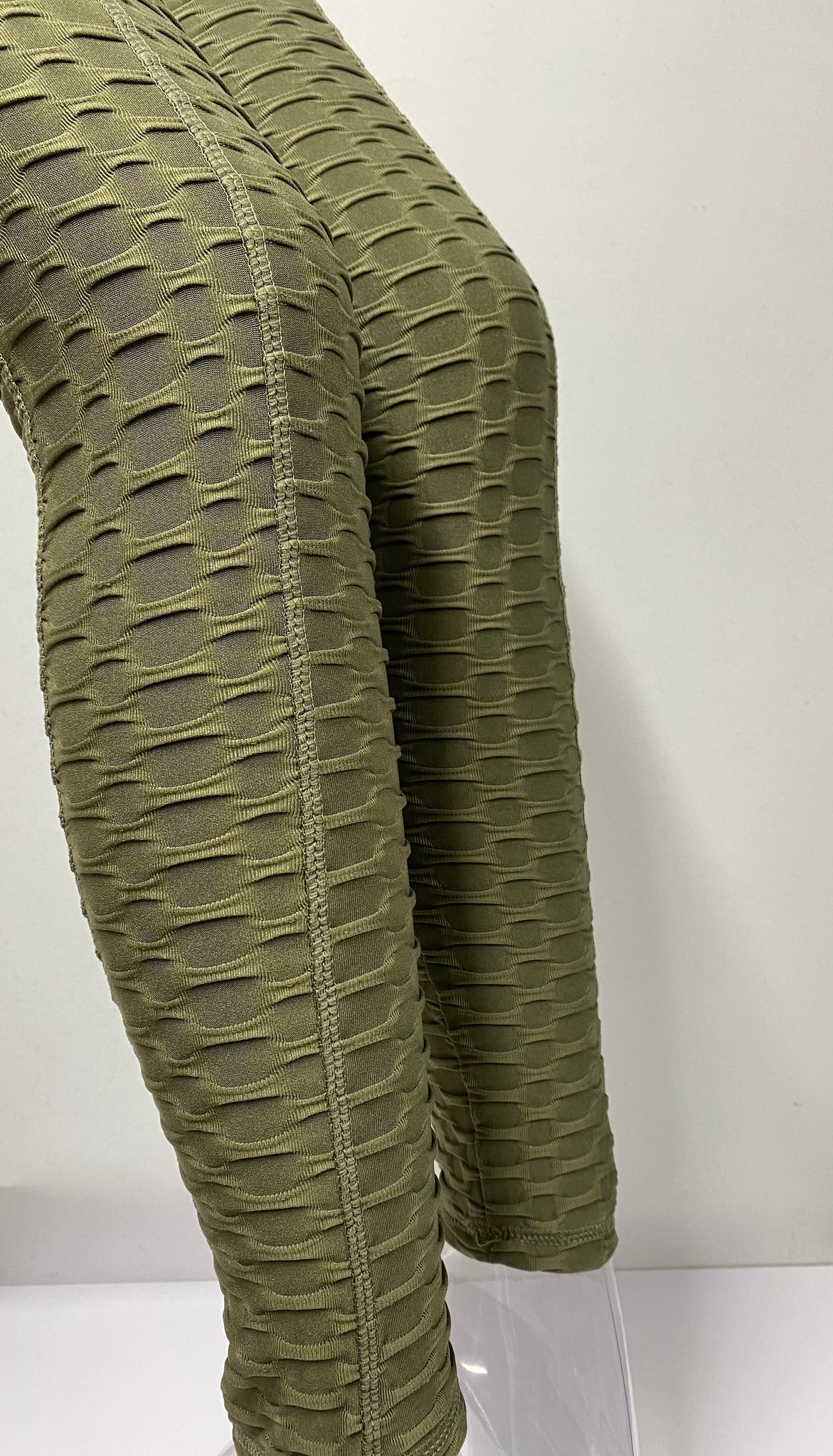 Textured Honeycomb Dark Olive Legings