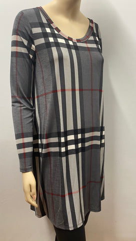 Charcoal Plaid Dress with Pockets