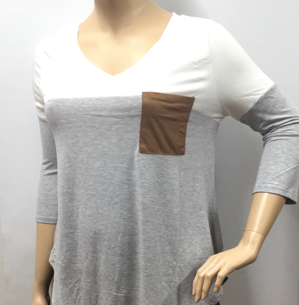Plus Size Block Patched Pocket and Elbow Top