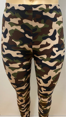 Extra Plus Tan Camo Printed Leggings