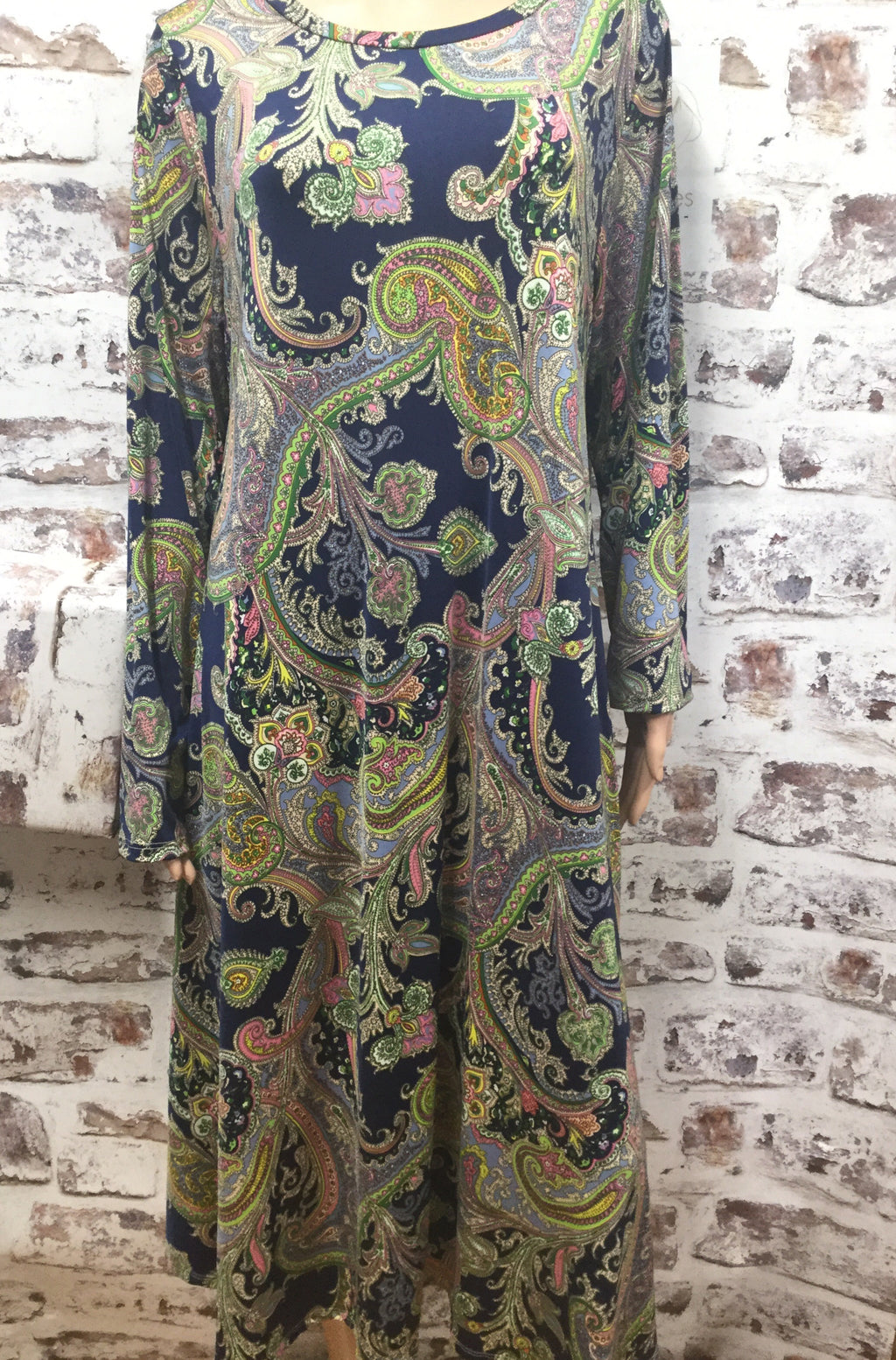 Plus Size Colorful Paisley Long Sleeve Dress
