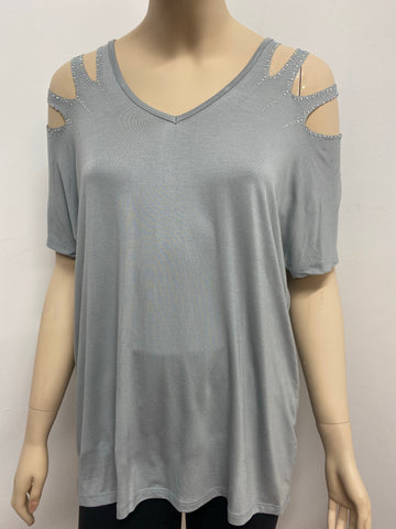 Laser Cut Short Sleeve Top with Rhinestone Accents