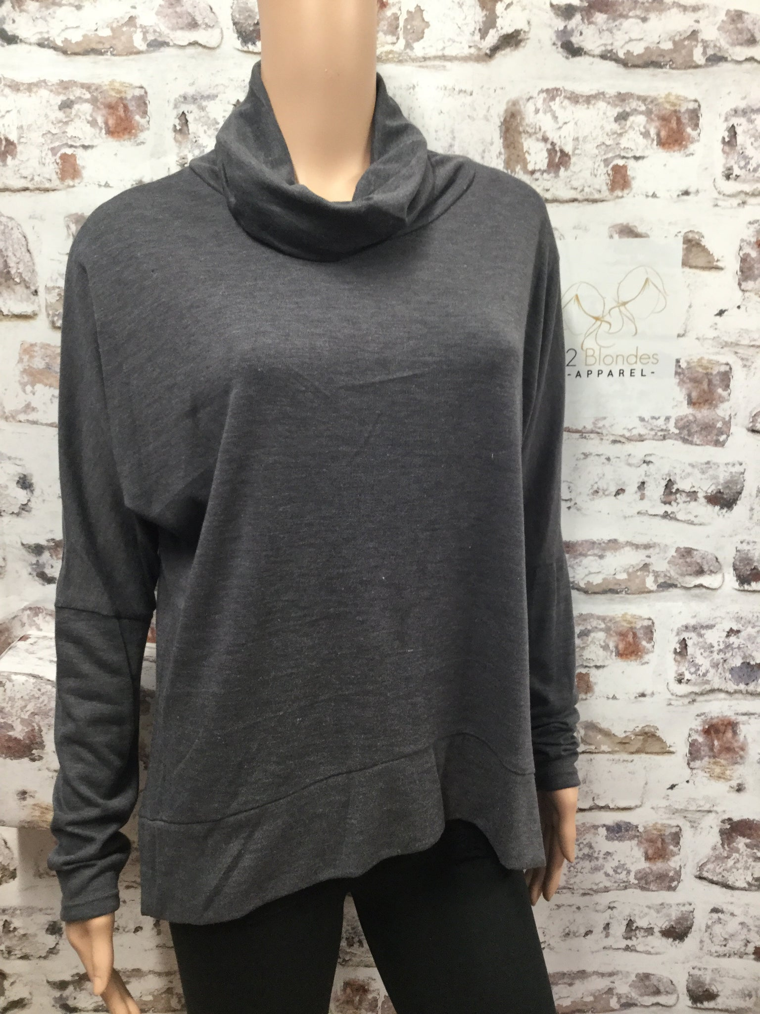 Charcoal Cow Neck Top
