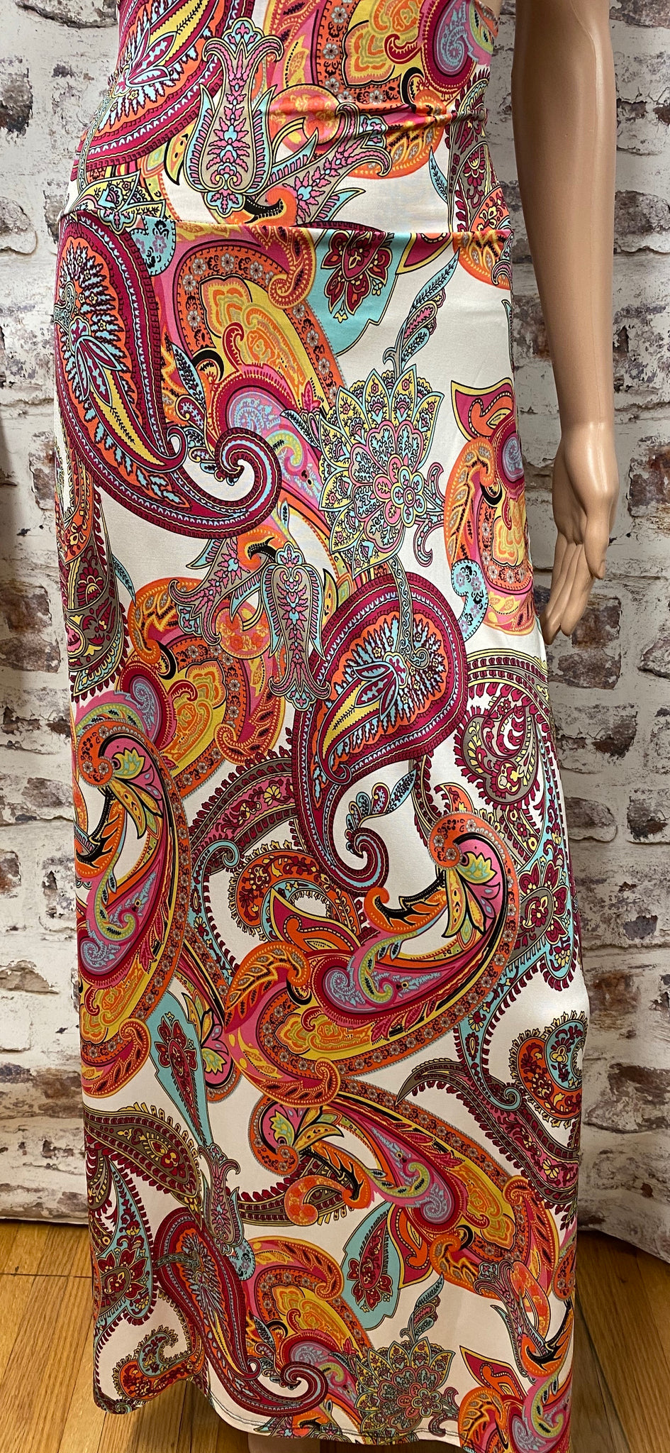 Plus Size Paisley Maxi Skirt