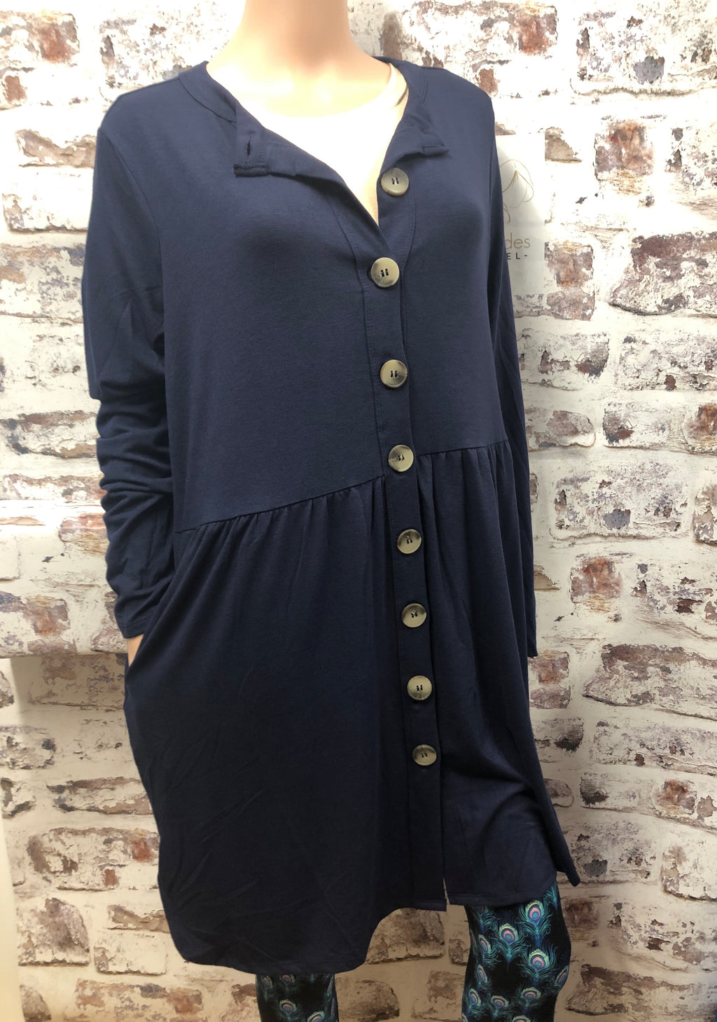 Plus Button up Gathered Navy Cardigan