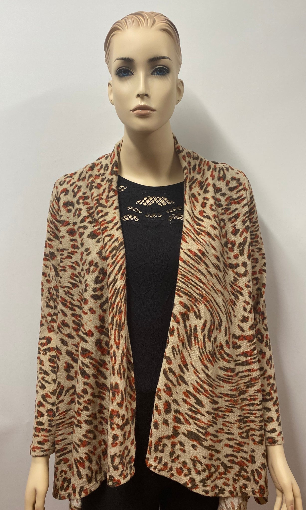 Rust Animal Print 2-1 Cardigan with Button Accent