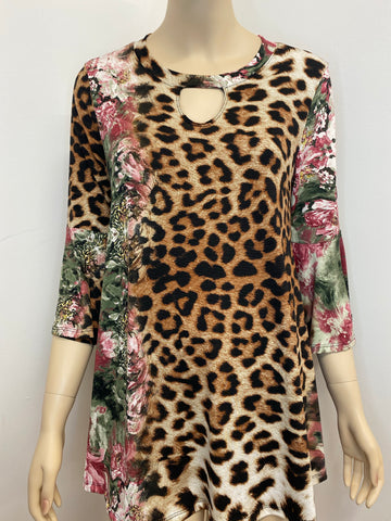 Leopard and Flowers Top with Keyhole