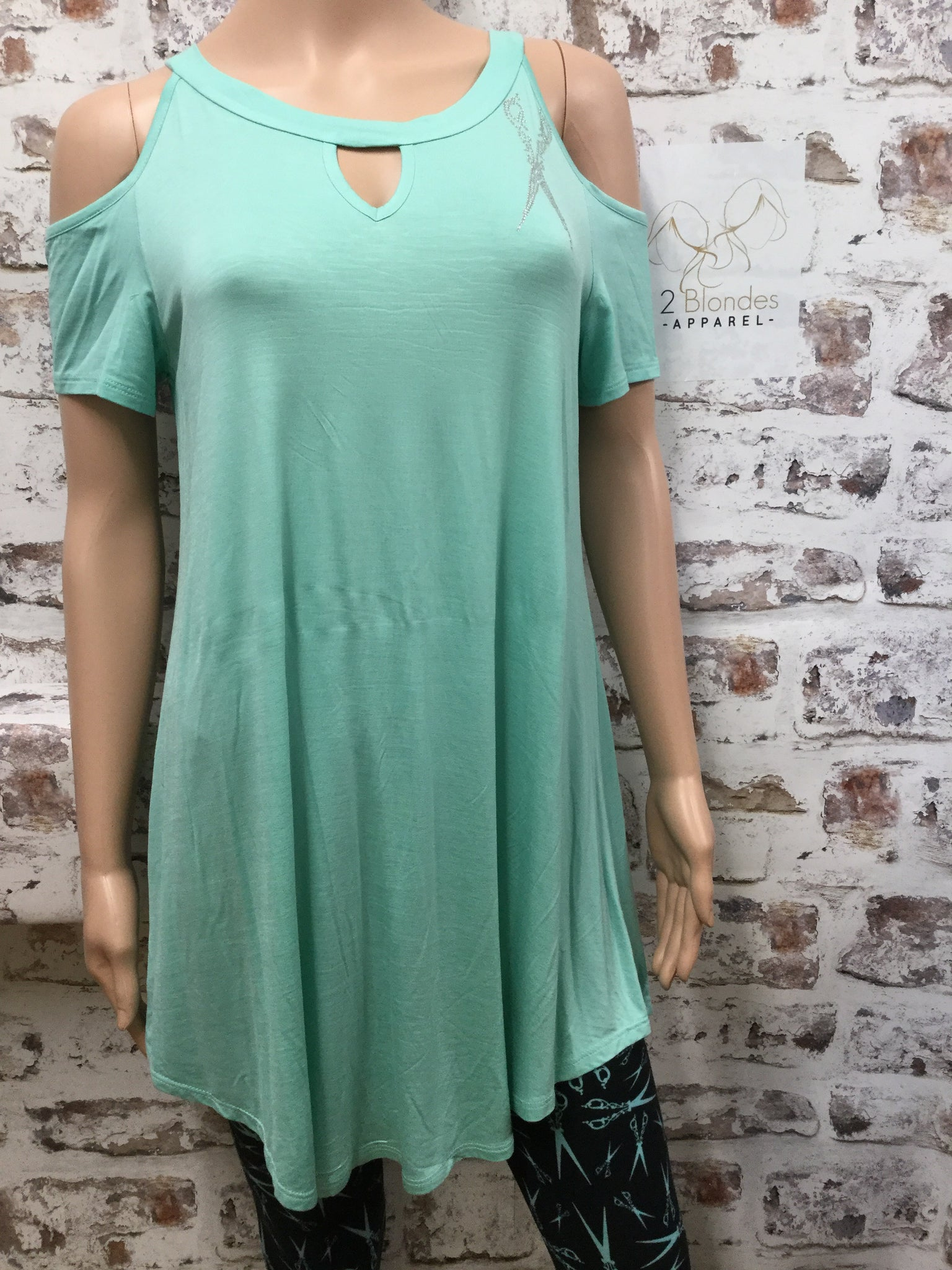 Mint Cold Shoulder with Keyhole and Medium Size Scissor Rhinestone