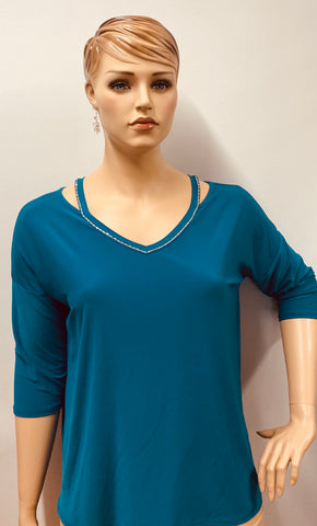 Plus Size Teal  Rhinestone Accent 3/4 Sleeve  Tunic