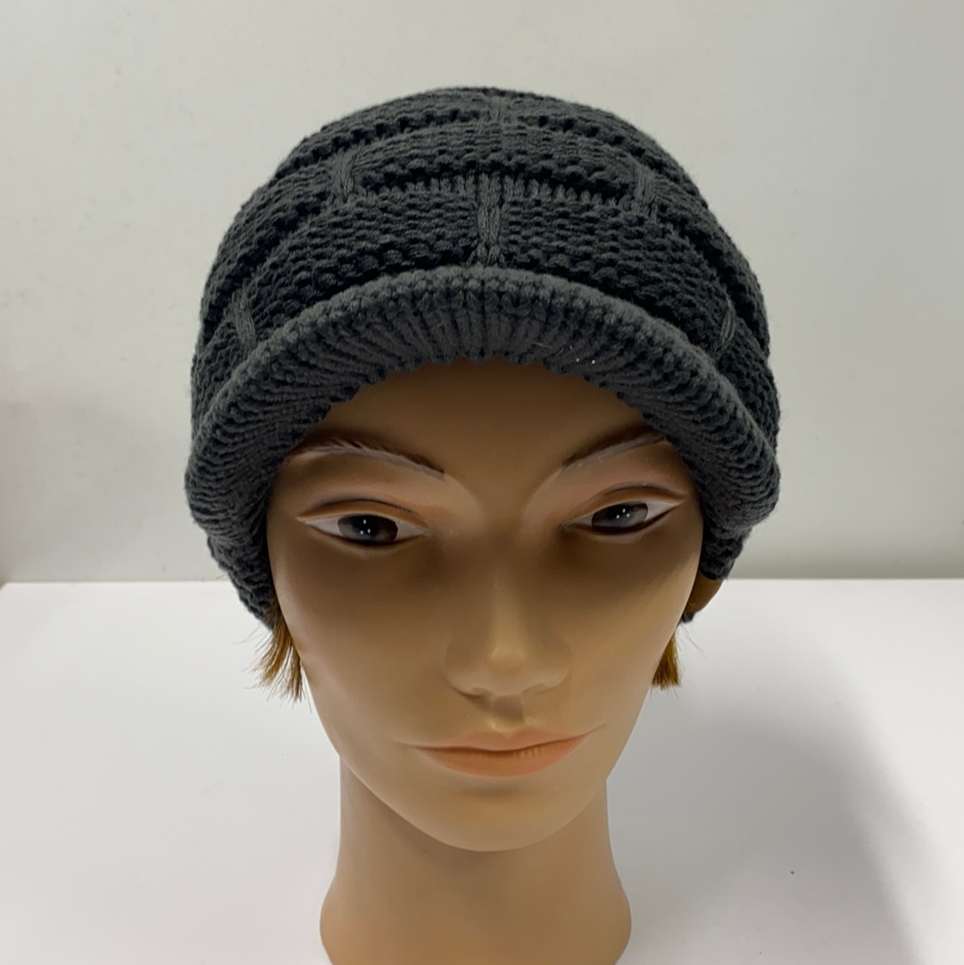 Dark Gray Knit Hat with Brim