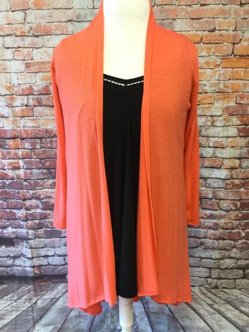 High Low Coral Orange Cardigan