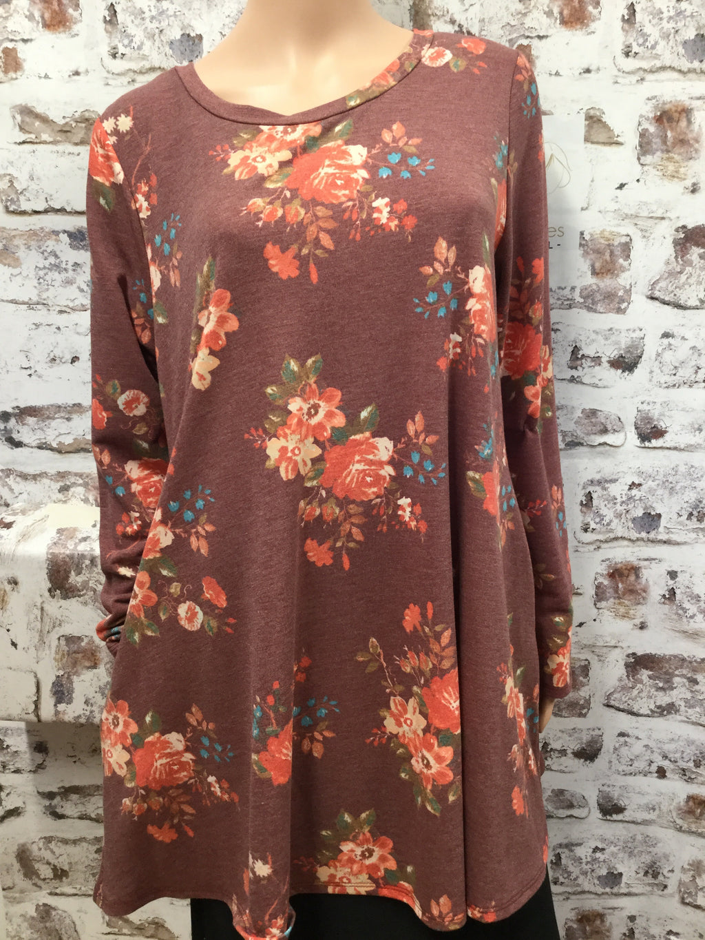 Plus Heather Burgundy Floral Dress Top with Pockets