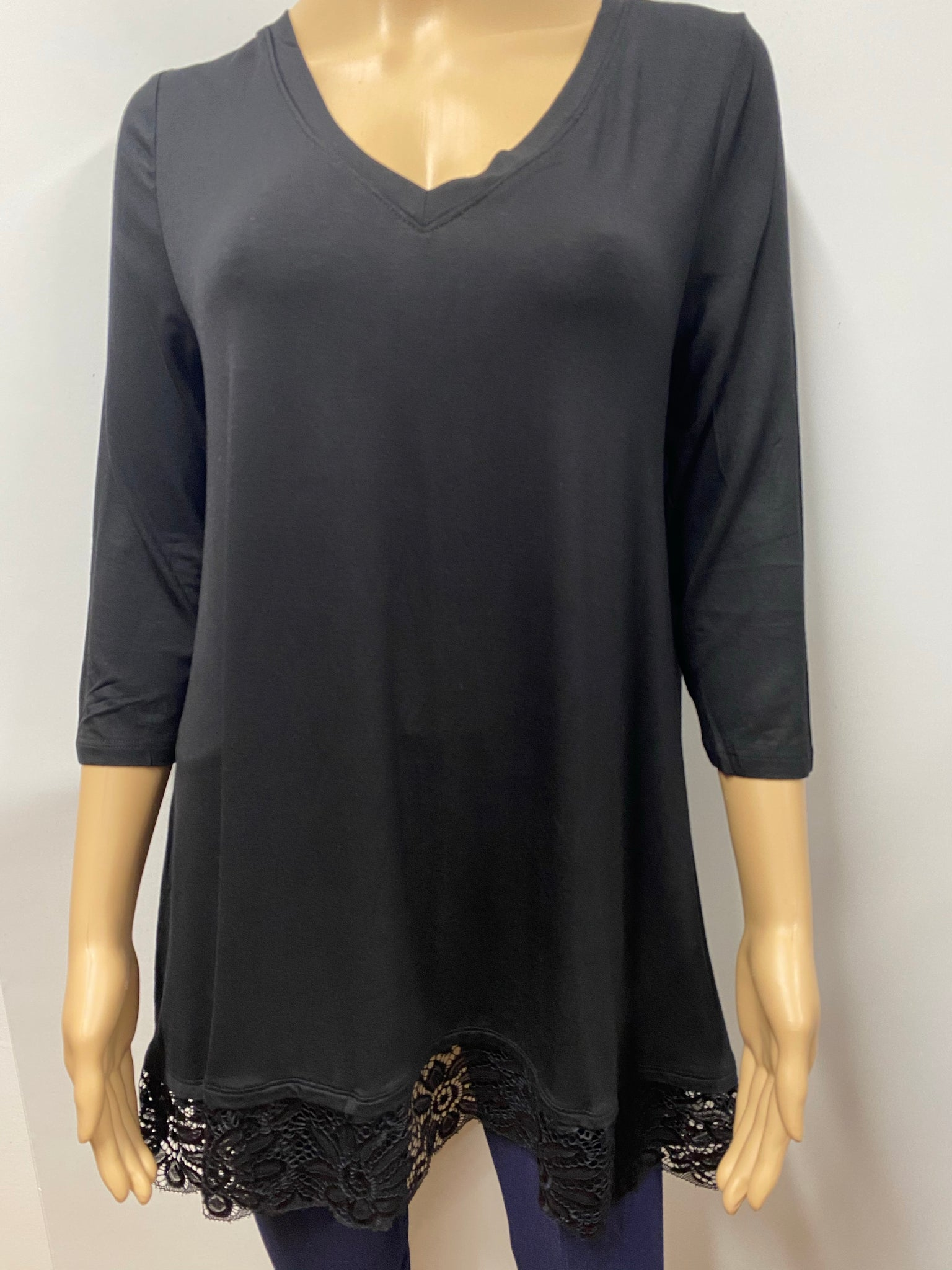 Black 3/4 Sleeve V-Neck Top with Lace Bottom Trim