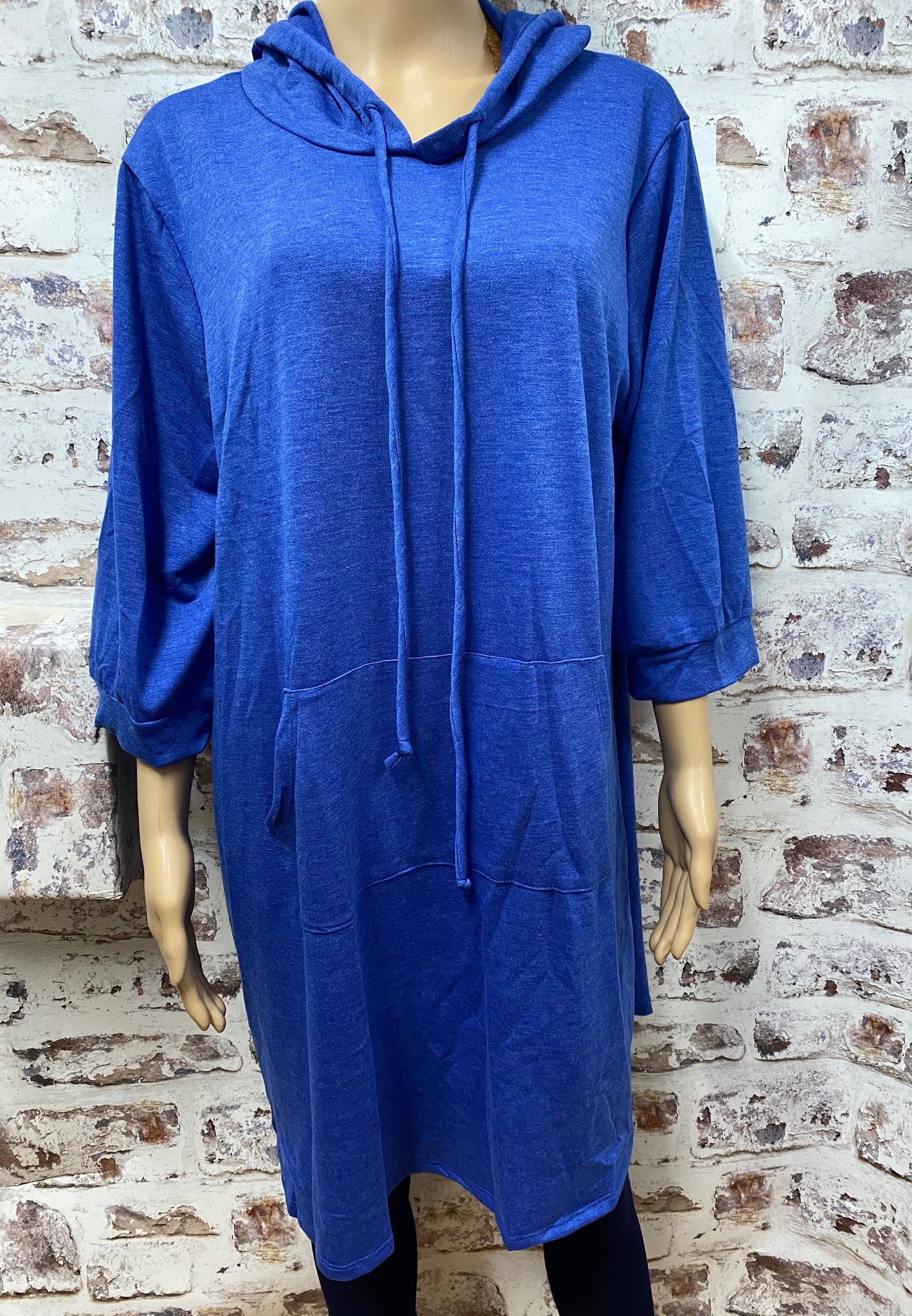 Plus Size French Terry Tunic Hoodie with Pocket