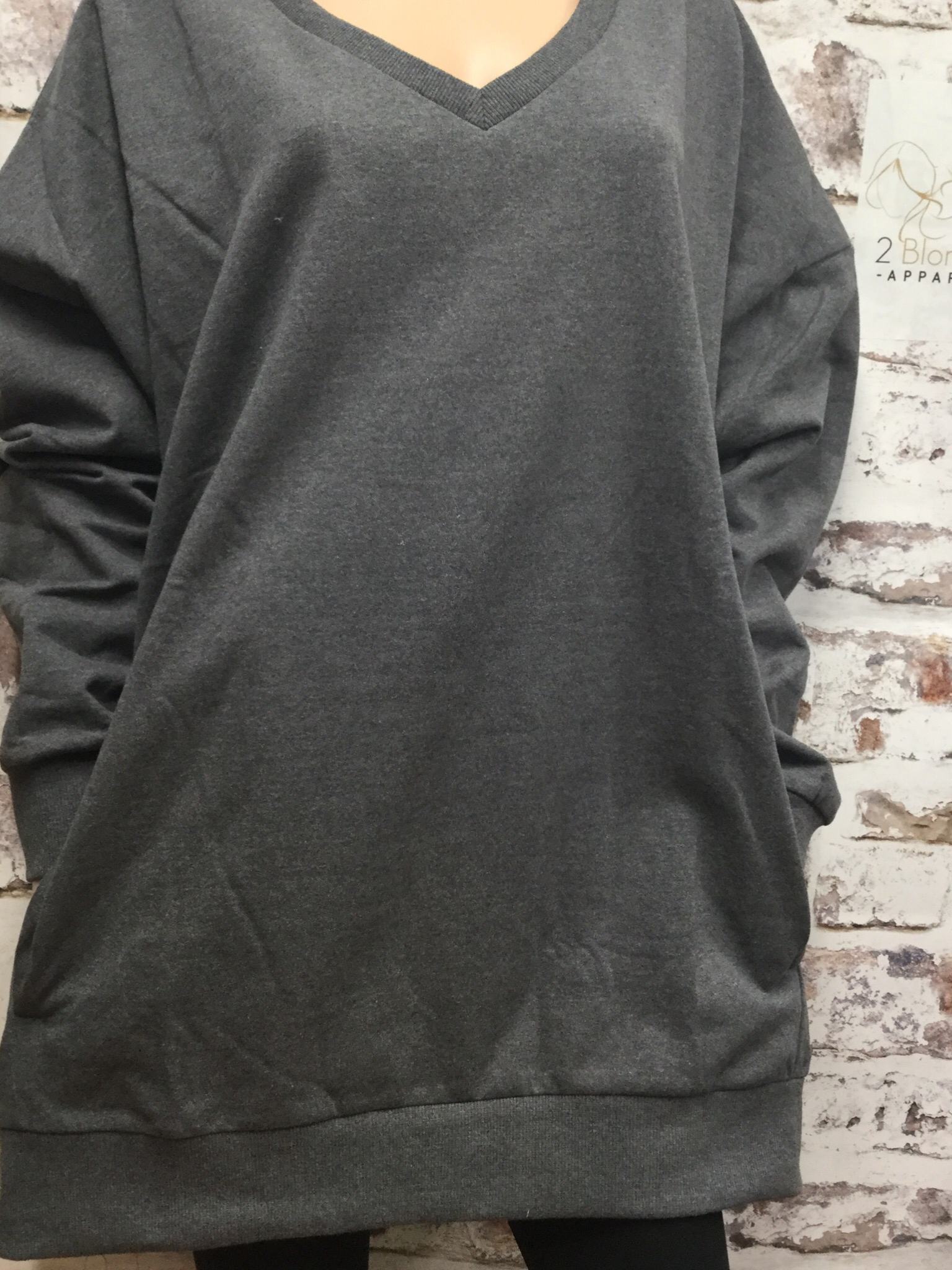 Gray V-Neck Oversized  Sweatshirt w/ Pockets