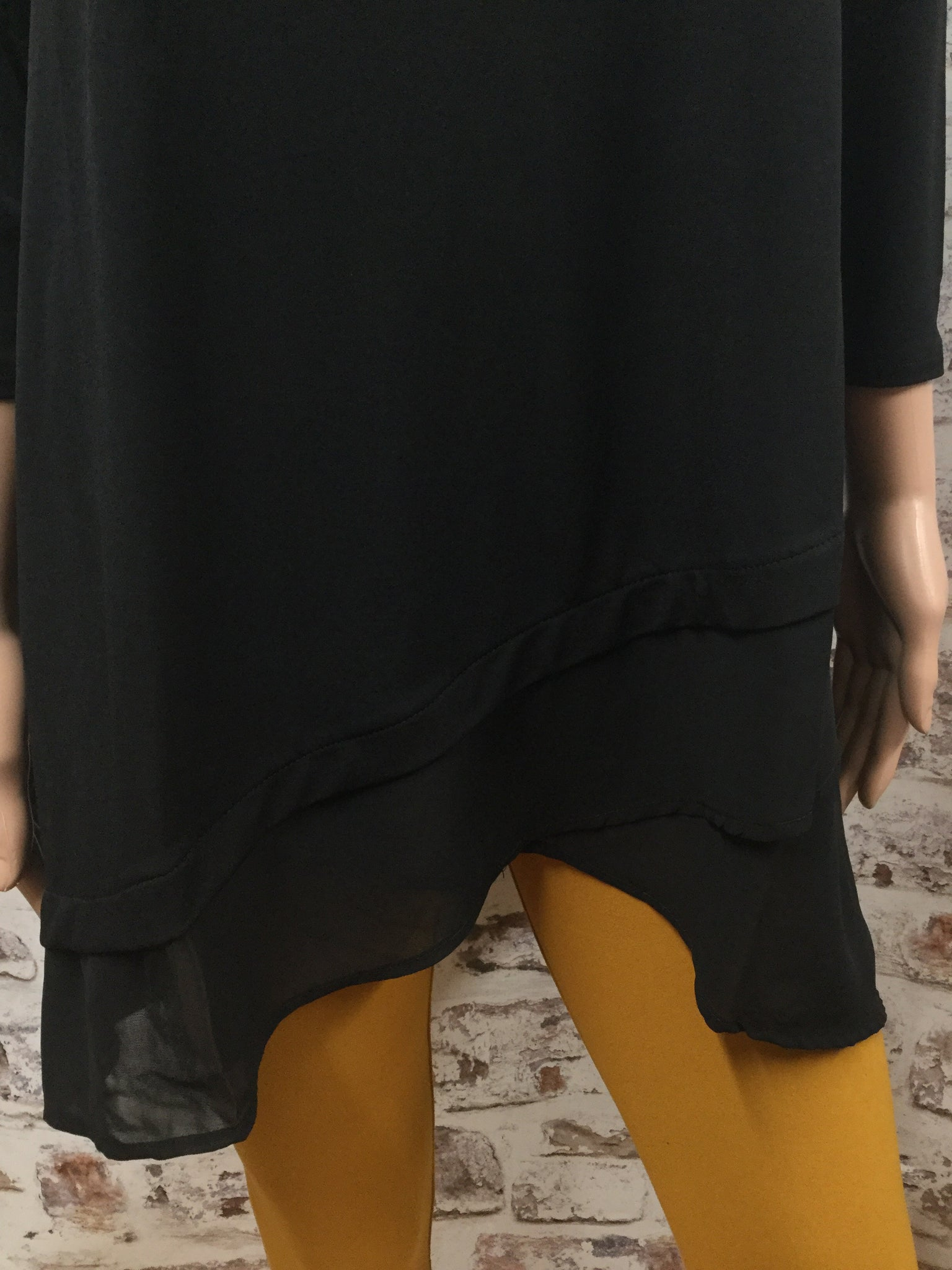 Black Round Neck 3/4 Sleeve with Chiffon Overlap Top