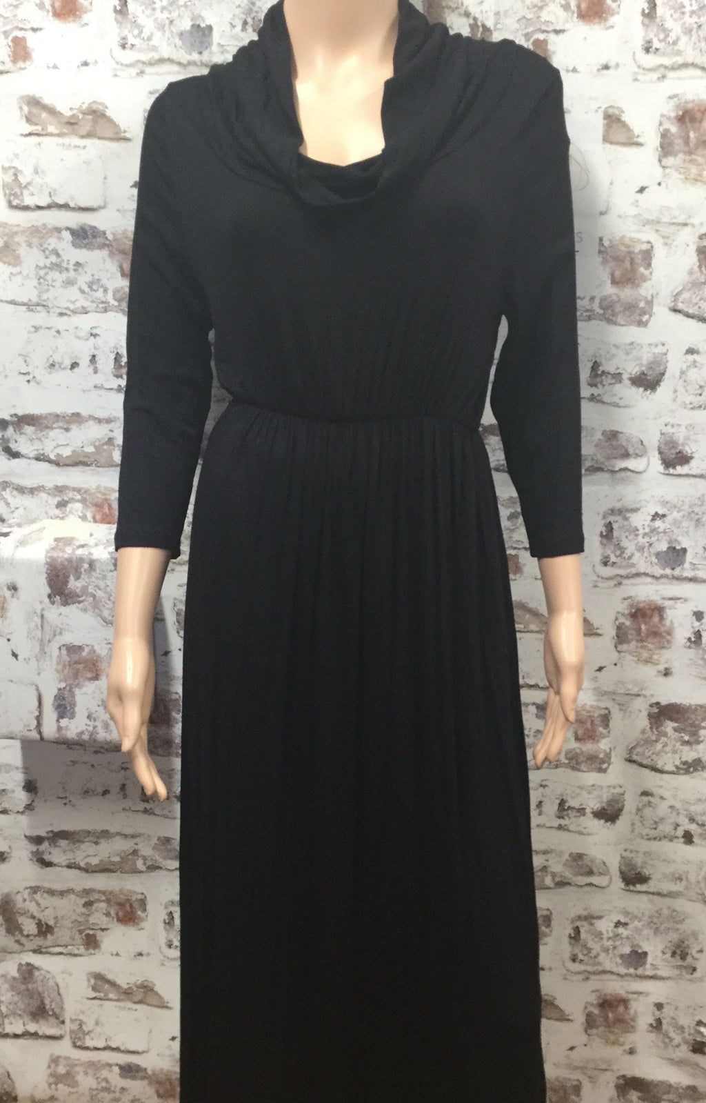 Black Cow Neck Dress
