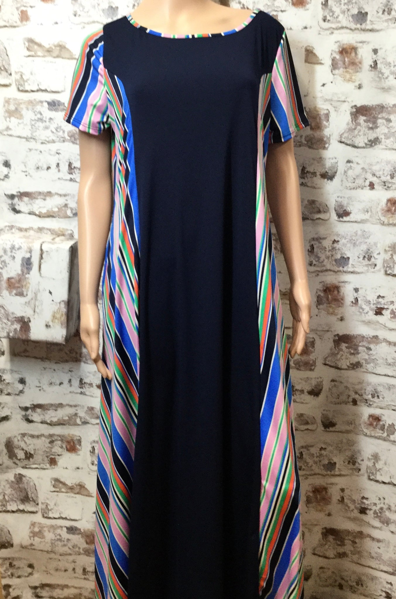 Extra Plus Navy and Colorful Striped Maxi Dress