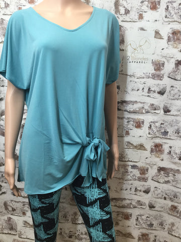 Ash Mint Short Sleeve Top with Knotted Accent
