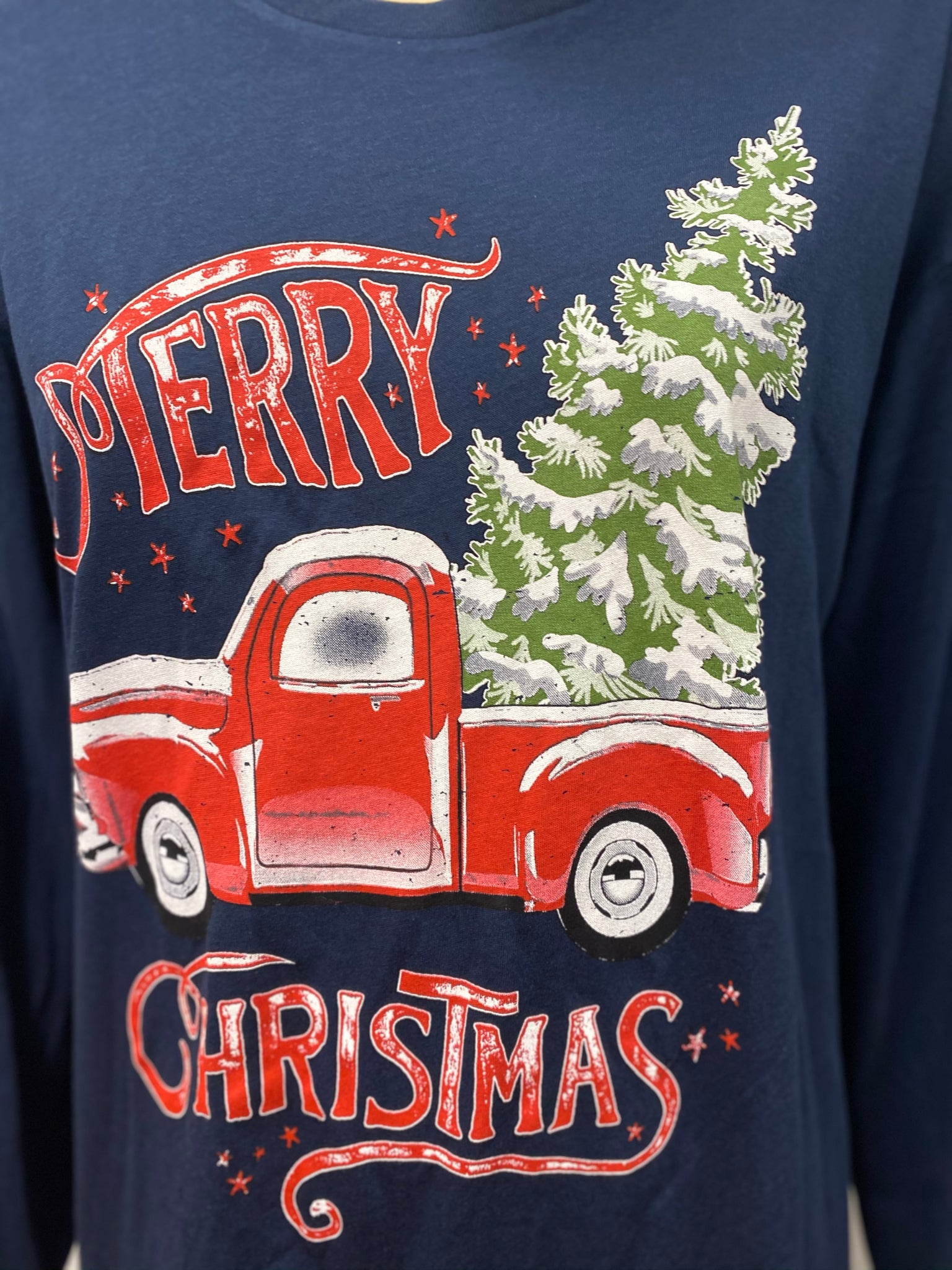 Navy Blue Merry Christmas Top